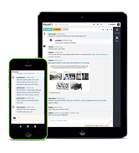 Live support dummy conversation on tablet and smartphone